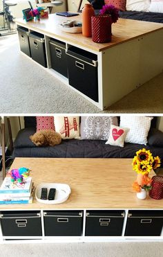 IKEA Kallax Table Hack | Click Pic for 25 DIY Small Apartment Decorating Ideas on a Budget | Organization Ideas for Small Spaces