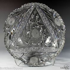 Irving ABP American Brilliant Cut Glass Combination Rose Fruit Centerpiece Bowl