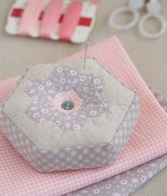 Pretty By Hand blog post ~ it all started with tiny pink flowers  May 12, 2014 ~ I filled it with ground walnut shells - as I do with all my pincushions because I love the weightiness and form you get with them