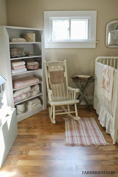 Adorable and well used small space farmhouse style nursery! Baby Bedroom, Nursery Room, Baby Rooms, Baby Girl Nursery Themes, Nursery Ideas, Girl Nurseries, Room Ideas, Farmhouse Nursery Decor, Nursery Rocker