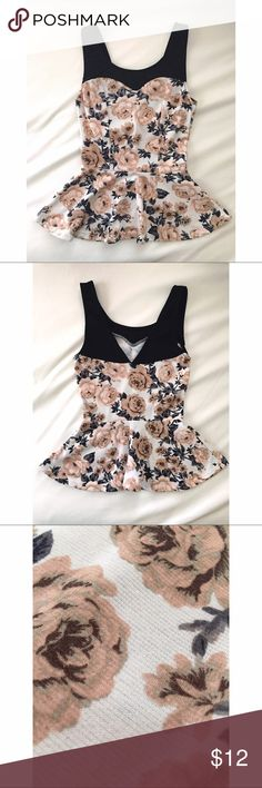 • BLM • Size=XS, floral peplum tank, beautiful piece, back comes to a V cut, slight piling from being washed , barely noticeable, this looks good with high waisted anything!  ~ I DO NOT SWAP, SO PLEASE DON'T ASK. YOU WILL BE IGNORED.  ~ I NO LONGER HOLD MY ITEMS, FIRST COME FIRST SERVE.   ~YOUR PURCHASE WILL BE SHIPPED WITHIN 24-48 HOURS AFTER PURCHASED, FROM THAT POINT ON I CANNOT CONTROL HOW LONG IT WILL TAKE FOR THE SHIPPING SERVICE TO GET IT TO YOU.  ~I AM MORE THAN HAPPY TO MAKE YOU A…