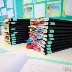 Pile of reading notebook ready for grading. Reading notebooks are composition books filled with notes taken during reading workshop.