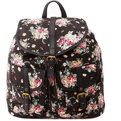 Charlotte Russe Floral Print Canvas Backpack ($27) ❤ liked on Polyvore featuring bags, backpacks, accessories, bolsa, black combo, floral-print backpacks, bucket backpack, canvas knapsack, charlotte russe backpacks and backpack bags