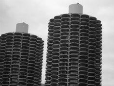 5 x 7 Marina City Towers Chicago Illinois Black and White Photo