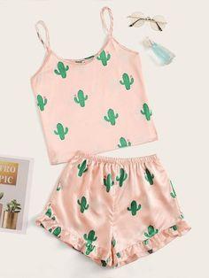Shop Cactus Print Satin Cami PJ Set at ROMWE, discover more fashion styles online. Girls Fashion Clothes, Teen Fashion Outfits, Cute Fashion, Outfits For Teens, Fashion Styles, Fashion Sets, Cute Lazy Outfits, Pretty Outfits, Cool Outfits