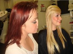 BEFORE AND AFTER PICTURES RED TO BLONDE 1 DAYS WORK X TERRY DUNN HAIRDRESSING  UK  01698 321068