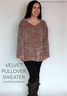 Velvet Pullover Sweater Crochet Pattern - Are you ready for the comfiest, coziest sweater EVER? This Velvet Pullover Sweater Crochet Pattern is so comfy you'll want to wear it all. Crochet Coat, Crochet Tunic, Crochet Clothes, Free Crochet, Crochet Sweaters, Crochet Shrugs, Quick Crochet, Freeform Crochet, Crochet Dresses