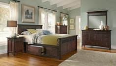 Wentworth Dark Storage Bedroom Collection   Furniture.com-Queen Storage Bed $899.99