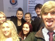 Apprentices, Demi Halliday, Milly Flanagan, Leah Simmons, Kieron Doherty, Baillie O'Grady,  Olivia Lee and Erin Finerty working at The Apprentice Academy