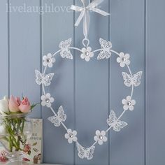 Butterfly & Daisy Large Hanging Heart