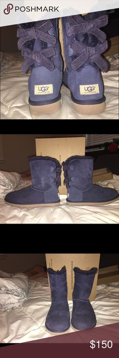 baily bow corduroy uggs color dark blue, size 6, worn once, no trades, brand new condition UGG Shoes Winter & Rain Boots