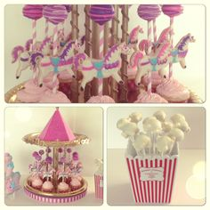 Carnival themed birthday party! #cake #cakepop #cupcake #cookie #pony #carousel #carnival #theme #birthday #party #pink #chocolate #popcorn #cottoncandy #candy