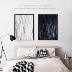 This printable Believe poster features beautiful black feathers and a minimalist design. It's one of a matching pair of art prints. Perfect for your gallery wall or decor above bed, this boho wall decoration print will look absolutely stunning with any black and white theme, and will also match any colour palette.