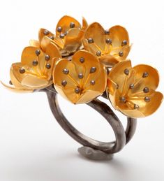 {30 Gorgeous Rings in June} Ring No. 21-Buttercup Flower Ring by Rebecca Koven | Haute Tramp