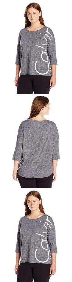 c9b685030b2 Calvin Klein Performance Women s Plus Size Dolman Sleeve Logo Tee