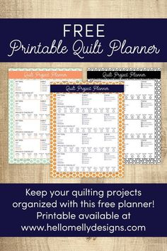 Free Printable Quilt Planner- Organize your quilt projects and WIP's so you have their status at a glance! www.hellomellydesigns.com