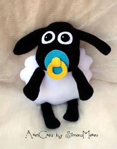 cute black lamb from Shaun the soft toy by Ares Crea on… Shaun The Sheep, Sheep And Lamb, Felt Patterns, Stuffed Toys Patterns, Timmy Time, Holiday Crochet, Sock Animals, Bear Doll, Sewing Toys