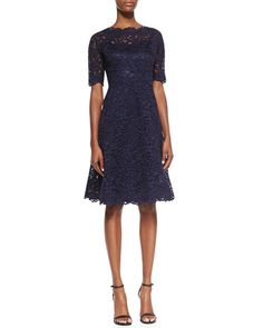 NMF15_T7PMH: Neiman Marcus, Rickie Freeman for Teri Jon, Lace Overlay Cocktail Dress in navy, $495.