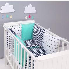 Tour de lit coussins modulable avec parures - design réversible ZigZag Vert