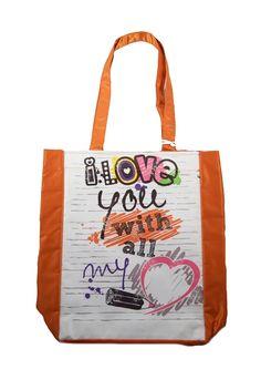 """Bolso My Heart Dogo de color naranja y blanco. Diseño con estampado """"I love with all my heart"""", dos asas medianas y bolsillo interno con cierre de cremallera."""