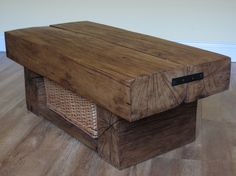 2 Beam Coffee Table with Shelf and Basket