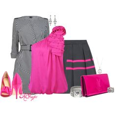 Charcoal and Hot Pink