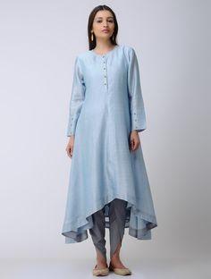 Buy Blue Chanderi Kurta with Asymmetrical Hem Lining: Cotton Mul Women Kurtas An Elegant Wardrobe dhoti pants and dupattas Benarasi cutwork Online at Jaypore.com