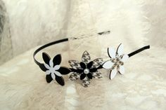 Black and white flower headband by FlowerWorksBySari, $15.00