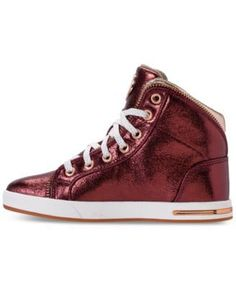 Skechers Girls' Shoutouts - Ritzy Zips High Top Casual Sneakers from Finish Line - Red 1.5