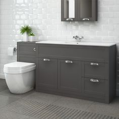 Nottingham 1000 Grey Combination Unit with Aurora Back to Wall Toilet