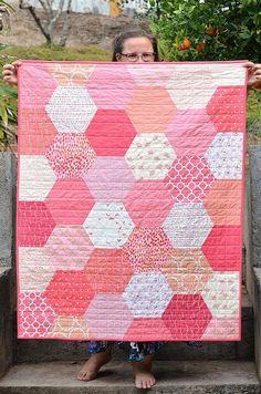 modern baby girl hexagon quilt