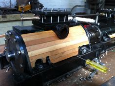 Making a start on the cylinder lagging we used Huon Pine for this