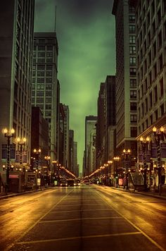 Wet night on State Street in Chicago, Illinois