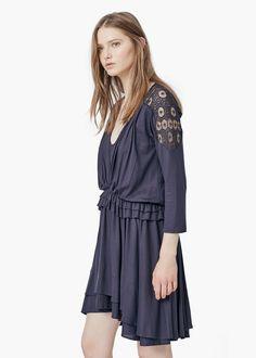 Guipure appliqué dress - Dresses for Woman   MANGO