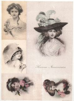 Rice Paper for Decoupage Decopatch Scrapbook Craft Sheet Vintage Women s Hat