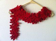 Valentines dayCrochet Red Flower Lariat by zahraknitting on Etsy, $27.90