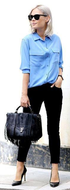#business #casualoutfits #spring | Blue Shirt + Black Denim | We The People