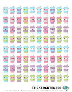 Free Printable Kawaii Coffee Planner Stickers from StickerCuteness