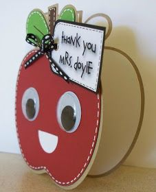 My friend Steph& son will be giving this card to his teacher. I again used my Gypsy to weld two apple shadows from Create-a-Critter to mak. Teacher Thank You Cards, Your Teacher, Teacher Gifts, Create A Critter, Teachers' Day, Diy Candles, Baby Cards, Homemade Cards, Your Cards