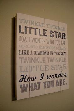 Twinkle Twinkle Little Star sign in a nursery
