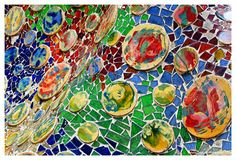 In Focus With The World: Guadi mosaic at the Battlo House, Barcelona