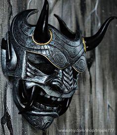 Samurai Assassin Dämon Oni BB Gun Airsoft Maske, Halloween Kostüm Cosplay Ninja Krieger Teufel Böse Hannya Kabuki Home Decor Wandmaske Tatuajes Irezumi, Irezumi Tattoos, Samurai Maske Tattoo, Oni Samurai, Armadura Sci Fi, Mascara Oni, Hannya Maske, Oni Mask Tattoo, Maske Halloween