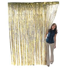 Metallic Gold Fringe Curtains. Use these metallic foil fringe curtains as a backdrop for a photo area. You could also cover the walls of your wedding reception hall with the shiny curtains. These fringe decorations can also be used in your party's entryways. 3 ft. x 8 ft.