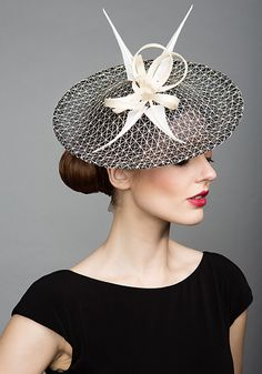 Rachel Trevor Morgan Millinery S/S 2015, R1565 Navy and Natural mesh disc with arrows