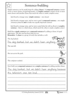 Simple sentences can become compound sentences by adding a clause. In this writing worksheet, your child gets practice building and understanding simple, compound, and complex sentences. Sentence Writing, Writing Practice, Teaching Writing, Writing Binder, Paragraph, Writing Worksheets, Writing Resources, Writing Activities, Connecting Words