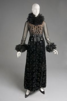 Designed by Oscar de la Renta, American and Dominican, born 1932 Geography: Made in United States, North and Central America Date: Early 1970s Medium: Black silk velvet, black and beige silk gauze, beige silk chiffon, black sequins, and black ostrich feathers