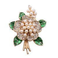 Бесплатная доставка Ретро мода дворец цветок жемчужина набор шнека зеленый цветок корсаж контактный женский темперамент