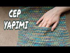 Örgüye Cep Yapma Tekniği - YouTube Crochet Mittens, Crochet Stitches, Free Crochet, Knit Crochet, Knitting Videos, Crochet Videos, Baby Knitting Patterns, Crochet Designs, Youtube