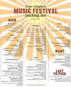 An updated music festival packing list can be found here: http://adventurehart.com/2016/01/15/an-updated-complete-and-ready-for-adventure-music-festival-packing-list/. Music Festival Packing list by Adventure Hart: www.adventurehart.com. Follow [@]billijohart on Twitter and Insta!