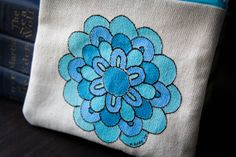 Hand painted Embroidered Clutch Ombre Blue Flower by Brydferth, $20.00